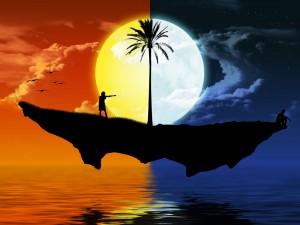 dia-noche-islote-flotando-sol-luna-oceano