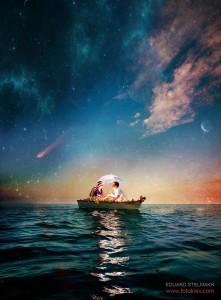pareja-barca-sombrilla-atardecer-mar-cuento