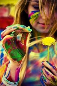 mujer-flor-pintura-colores