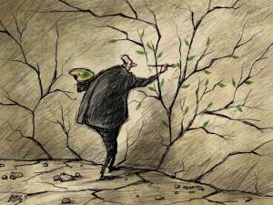 hombre-pintando-grietas-arboles-hojas-verdes
